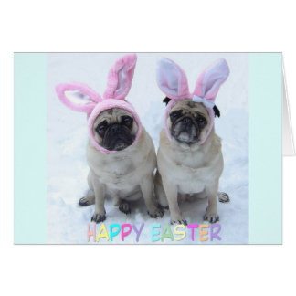 Pug Easter Bunny Card