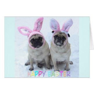 Pug Easter Bunny Greeting Card