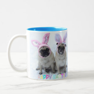 Pug Easter Bunny Two-Tone Coffee Mug