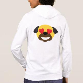 Pug Emoji Hearts Love and Tears of Joy Hoodie