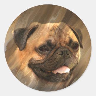 Pug face classic round sticker