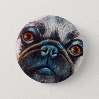 Pug Face Close up Button