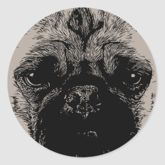 Pug Face Funny Hand Drawn Classic Round Sticker