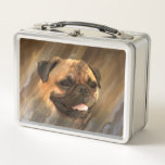"""Pug face metal lunch box<br><div class=""""desc"""">Fawn pug in an abstract but matching background dog lovers metal lunchbox</div>"""