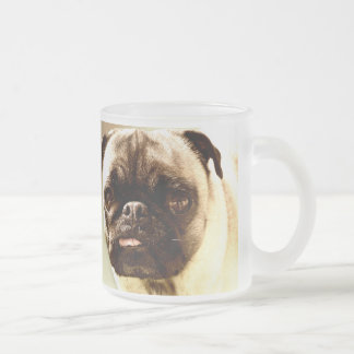 Pug Face 10 Oz Frosted Glass Coffee Mug