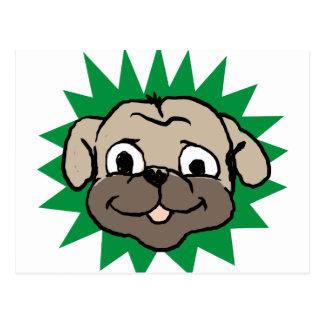 Pug face postcard
