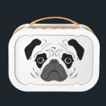 "Pug Face Silhouette Lunch Box<br><div class=""desc"">Funny pug face silhouette. Customizable background color (Soft color recommended).</div>"