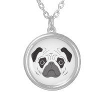 Pug Face Silhouette Silver Plated Necklace