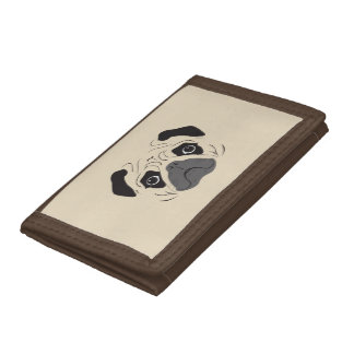 Pug Face Silhouette Trifold Wallet