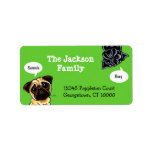 """Pug Family Pet Name Personalized Custom Color Label<br><div class=""""desc"""">Personalize these funny black &amp; fawn Pug art labels with your pets&#39; names!  You can also change the background color (shown with green background). To change the background color,  click the orange &quot;customize it!&quot; button,  then select the down arrow beside &quot;edit&quot;,  then &quot;background&quot; and select a background color.</div>"""