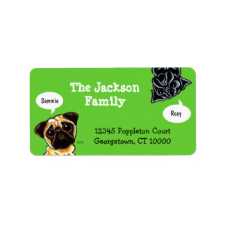 Pug Family Pet Name Personalized Custom Color Address Label