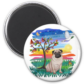 Pug (fawn) 2 inch round magnet