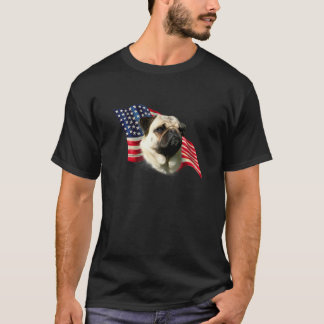 Pug (fawn) Flag T-Shirt