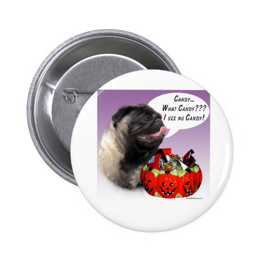 Pug (fawn) Halloween Candy 2 Inch Round Button