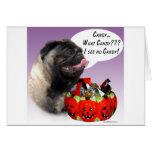 Pug (fawn) Halloween Candy Greeting Card