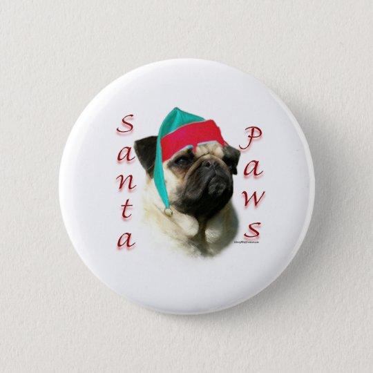 Pug (fawn) Santa Paws Pinback Button