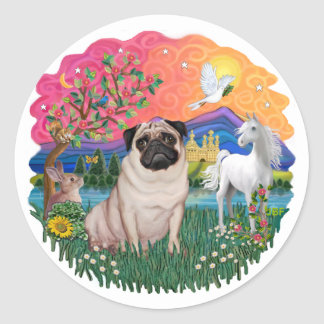 Pug (fawn) round stickers