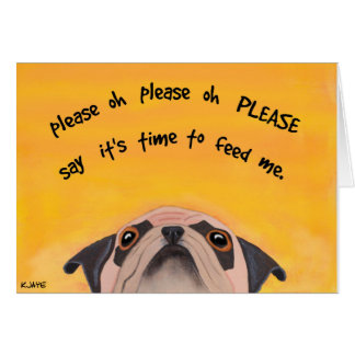 Pug Feeding Time - Fine Art Card for Dog Lovers