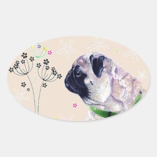 Pug & Flowers Sticker
