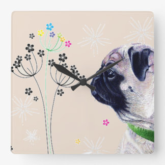 Pug & Flowers Wall Clock
