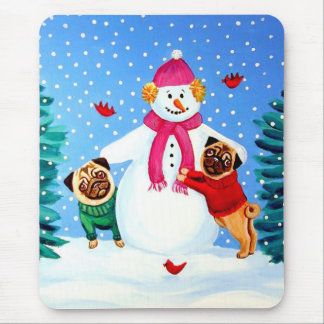 Pug Frosty's Helpers Mousepad
