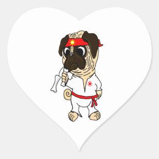 Pug-Fu Fighting Pug Heart Sticker