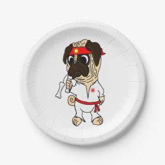 Pug-Fu Pug Paper Plates