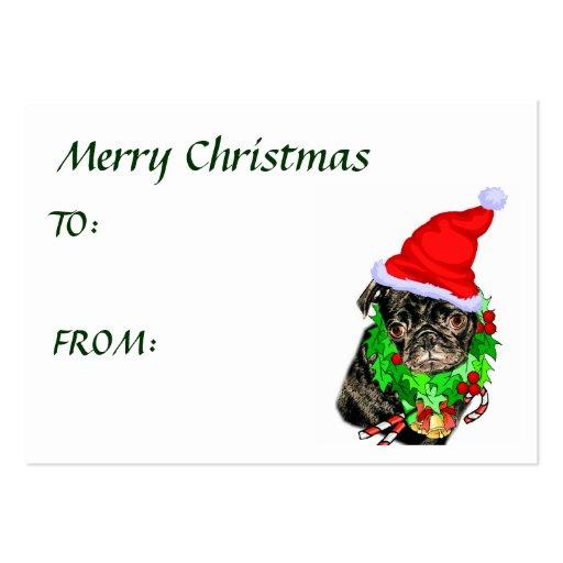 Pug funny christmas gifts business card templates zazzle for Christmas business card template