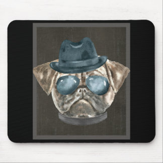 Pug Gangster Hat Aviator Glasses Collar  Dogs In Mouse Pad