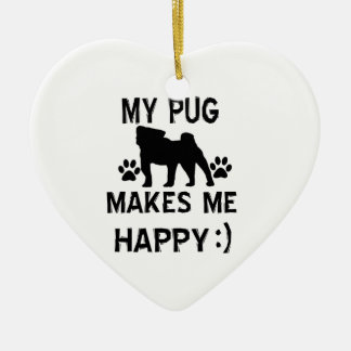 pug  gift items Double-Sided heart ceramic christmas ornament