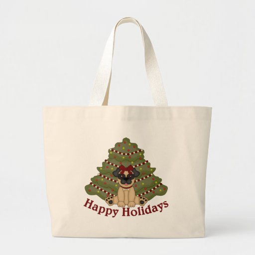 Pug Girl and Tree Holiday Bag