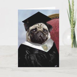 Pug graduation card card
