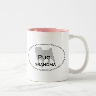 Pug Grandma Two-Tone Coffee Mug
