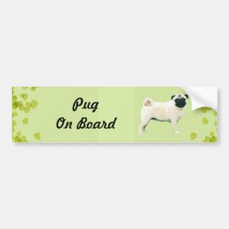 Pug ~ Green Leaves Design Bumper Sticker