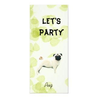 Pug ~ Green Leaves Design Card