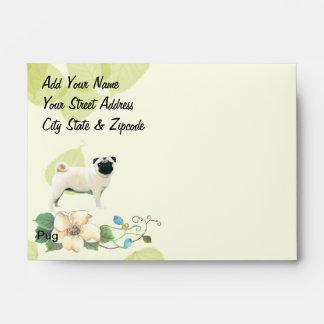 Pug ~ Green Leaves Design Envelope
