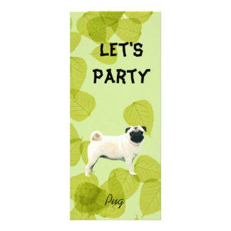 Pug Green Leaves Design Custom Announcements