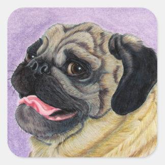 Pug Grin Square Sticker