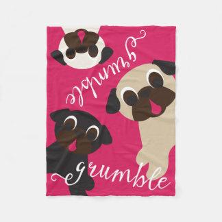 Pug Grumble Fleece Throw Blanket Fleece Blanket