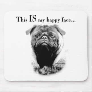 Pug Happy Face Mouse Pad