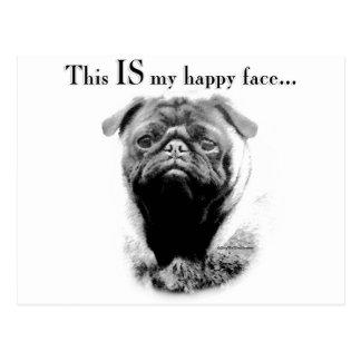 Pug Happy Face Postcard