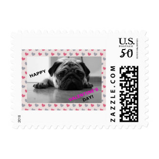 Pug Happy Valentine's Day Postage Stamp