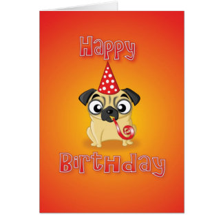 pug - hat&whistle - happy birthday card
