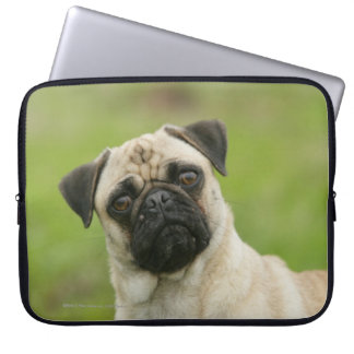 Pug Head Cocked Looking at Camera Laptop Sleeve
