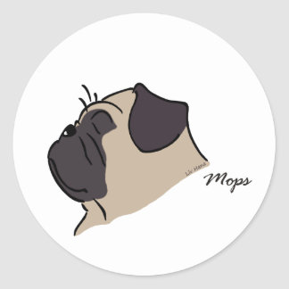 Pug head silhouette classic round sticker