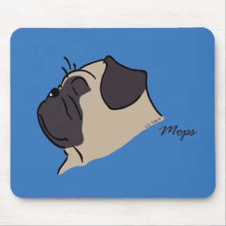 Pug head silhouette mouse pad