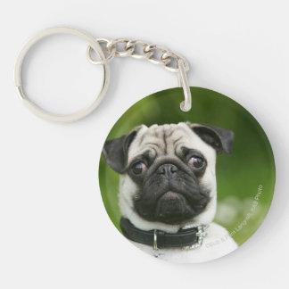 Pug headshot keychain