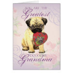 Pug Heart Grandma Greeting Card
