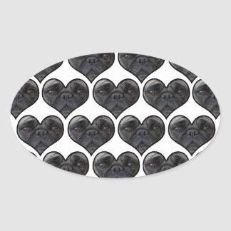 Pug Hearts Oval Sticker
