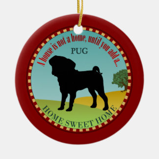 Pug Home Double-Sided Ceramic Round Christmas Ornament